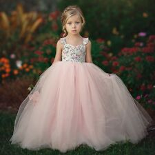 Children Kids Girls Sleeveless Fancy Wedding Bridesmaid Gown Tutu Dresses UK