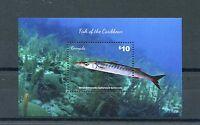 Grenada 2015 MNH Fish of Caribbean 1v S/S Marine Great Barracuda