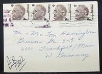 Returned US Airmail Envelope Roosevelt 6c MeF USA Luftpost Brief (Y-27