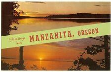 Manzanita  Oregon - 1960  name band banner postcard - unused Curt Teich