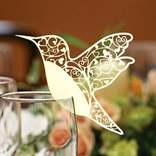 Hummingbird Wedding Name Place Cards For Wine Glass Laser Cut  Pearlescent Card