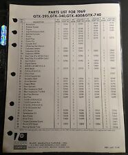1969 RUPP SNO-SPORT GTX-295, 340, 400, & 740 PARTS LIST MANUAL SINGLE PAGE (220)