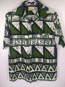 IOLANI HAWAII Short Sleeve Button Green Bark Cloth Vintage 1960 Shirt Men Medium