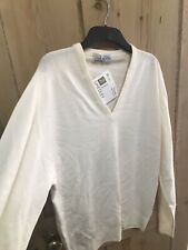 Fab John Smedley Cream Pure Wool V Neck Jumper Size Large 42in Chest
