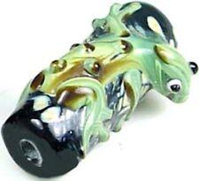 Lampwork Handmade Green Black Frog Hug Tree Beads (4)