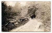 RPPC Horse and Buggy in The Dugway, Worthington, MA Real Photo Postcard