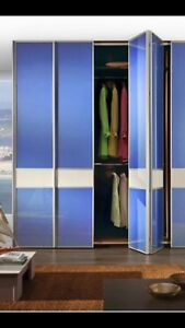 Folding Bifold Wardrobe Mirror Wood Panel Doors. Made To Measure. Custom Design