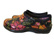 Sloggers Womens Clogs SHOES Rain Garden Slip On Shoes Black Floral  8