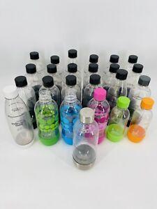 Soda Stream Carbonating Water Bottle Lot of 25 1 Liter Green Orange Dots Metal