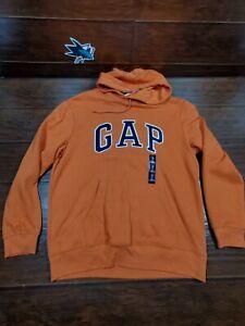 GAP Logo Fleece Hoodie Pullover Long Sleeve Sweatshirts Orange Men's Sz Large
