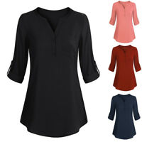 Women Long Sleeve Blouses Roll-Up Top Casual V Neck Button Layered T-Shirt AU