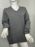 J. Crew Women's Gray V-Neck Sweater Merino Wool Medium Long Sleeves Tight Knit