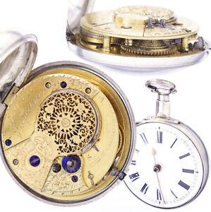 Antique Verge Fusee Keywind Pocket Watch CA1800s in Silver Pair Case