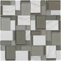 Modern Mosaic White Gray Metallic Glossy Polished Glass Stone Tile Wall MTO0002