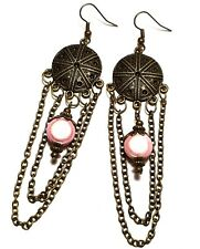 Long Pink Chain Earrings Antique Bronze Style Pierced Hook Dangle Boho Hippy