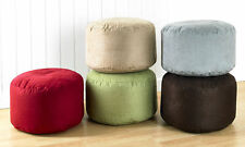Luxury Faux Suede Round Fully Filled Footstool Pouffe Available In 5 Colors