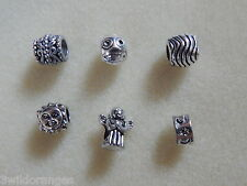 Tibetan Silver Spacer Beads for fit  European Charm Bracelet x 6 Charms