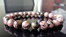 Genuine Pink Black Rhodonite Bead Bracelet for Men or Women On Stretch 8mm 7.5""