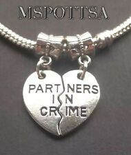 Love Hearts Partners in Crime Best Friends Bracelet Charms BFFs Sisters Squad