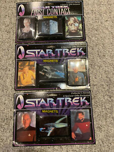 collection of Star Trek magnets- three sets of three magnet sets