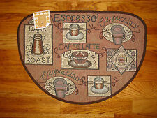 "Cappuccino  LATTE Espresso COFFEE Brown Tapestry Kitchen Slice Rug Mat! 19""x27"""