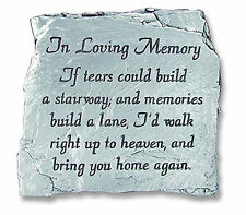 In Loving Memory Plaque If Tears Could Build A Stairway Slate Memorial Pewter