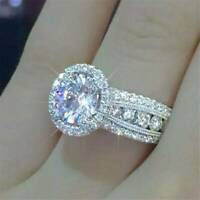 Fashion Shine Women 925 Silver Rings White Sapphire Wedding Ring Size 6-10 Gift