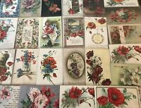 Colorful Lot of 25 POPPIES VINTAGE POPPY FLOWERS floral GREETINGS POSTCARDS-a77