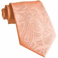 New Men's Polyester Woven Neck Tie necktie only peach paisley prom wedding