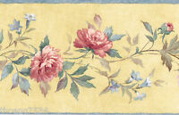 Victorian Pink Red Rose Yellow Blue Floral Flower Silk Satin Wallpaper Border