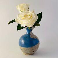 """Blue & Gray Wheel Thrown Studio Art Pottery Vase 5"""" Signed Zoeller EUC"""