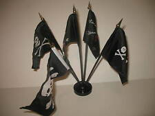 "Jolly Roger JR Pirate Pirates 5 Different Flags 4""x6"" Desk Set Table Black Base"