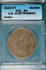 New listing 1622-Ct Icg G4 G.S. Wurttemberg Gulden Km#99! #B7483