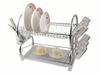 2 Tier Dish Drainer Rack Drip Tray Sink Dryer Storage Draining Plate Bowl Chrome