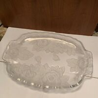 Pretty Clear Glass Serving Plate Tray Platter Frosted Flower Finish & Handles