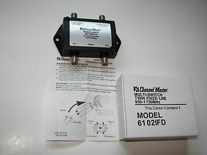 CHANNEL MASTER SATELLITE TV COAX MULTI-SWITCH 6102IFD TWIN FIXED LNB 950-1750MHz