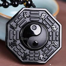 Natural Obsidian Carved Chinese TaiJi BaGua Lucky Amulet Pendant +Beads Necklace