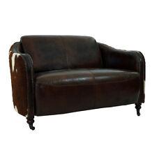 Vintage Leder Design Zweisitzer Kuhfell Sofa Flair antik