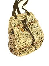 Vintage Straw Drawstring Bucket Bag Safari Animals Unique Tan Large Purse Raffia