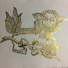 3 Vintage in Folder Chinese Folk Gold Foil Dragon Cut Outs