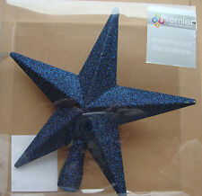 Midnight Blue Christmas Tree Top Star Topper Glitter finish