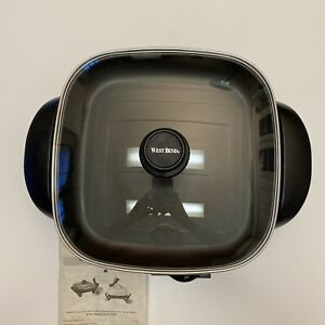 """West Bend 12"""" Electric Skillet With Glass Lid Manual Heat Probe Temp. Control"""