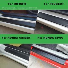 4PCS Car Door Sill Scuff Welcome Pedal Protect Carbon Fiber Sticker + Scraper US