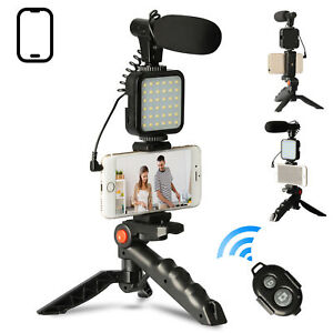 Smartphone Video Microphone Kit LED Light w/Tripod Stand for iPhone YouTube Live