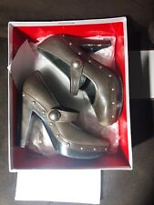 Coleene Calf Brass Gray Studded Coach Leather Mary Jane Heels 6.5