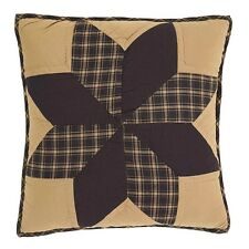 """DAKOTA BLACK STAR PILLOW : 16"""" COUNTRY QUILTED PRIMITIVE RUSTIC ACCENT TOSS"""