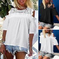 Women Solid Short Sleeve Blouse Cold Shoulder Party Club Crochet Tops Shirt Tee