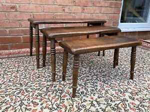 Antique Solid Oak Nest Of 3 Occasional Tables - Side Tables Arts & Crafts