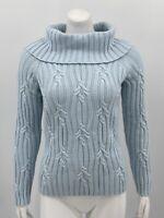 Talbots Women's Pullover Sweater Small Petite Blue Cowl Neck Angora Blend Knit