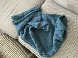 Hand Knitted Teal Throw